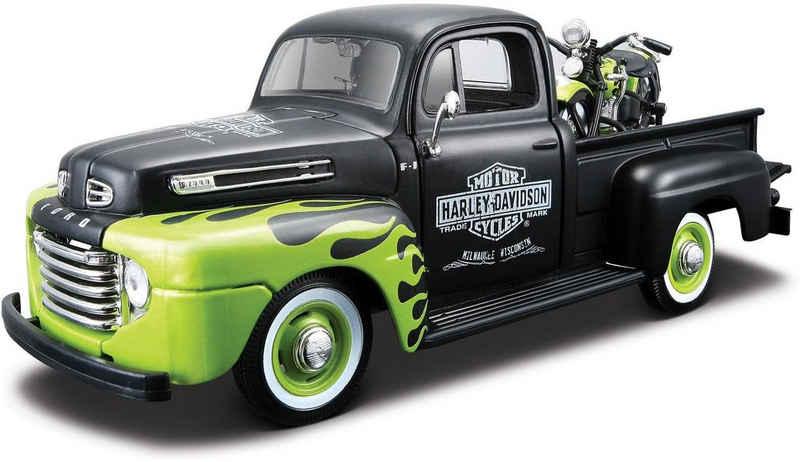 Maisto® Sammlerauto »Ford F1 '48 + FL Panhead '48, 1:24, schwarz/grün«, Maßstab 1:24, (Set, 2-tlg), aus Metallspritzguss