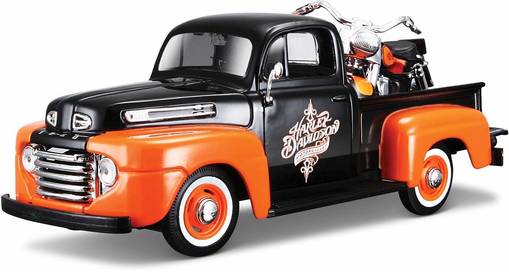 Maisto® Sammlerauto Set, »Ford F1 '48 + FLH Duo Glide '58, 1:24, schwarz/orange«