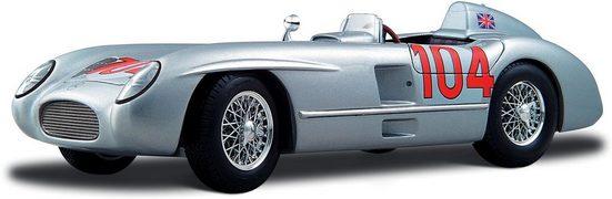 Maisto® Sammlerauto »Mercedes 300 SLR Targa Florio 55, 1:18, silberfarben«, Maßstab 1:18, mit Lenkung und Federung
