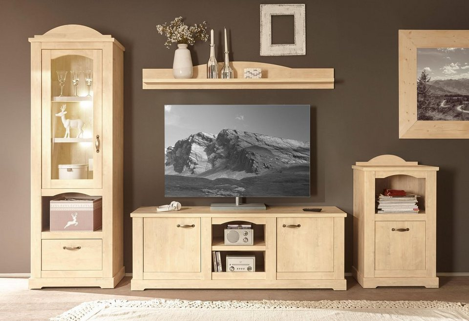home affaire wohnwand arosa 4 tlg bestehend aus vitrine wandregal tv lowboard und kommode. Black Bedroom Furniture Sets. Home Design Ideas