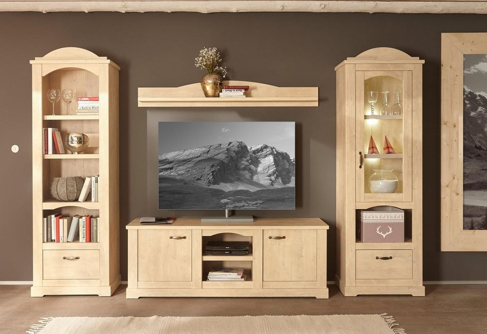 home affaire wohnwand arosa 4 tlg bestehend aus vitrine wandregal tv lowboard und regal. Black Bedroom Furniture Sets. Home Design Ideas