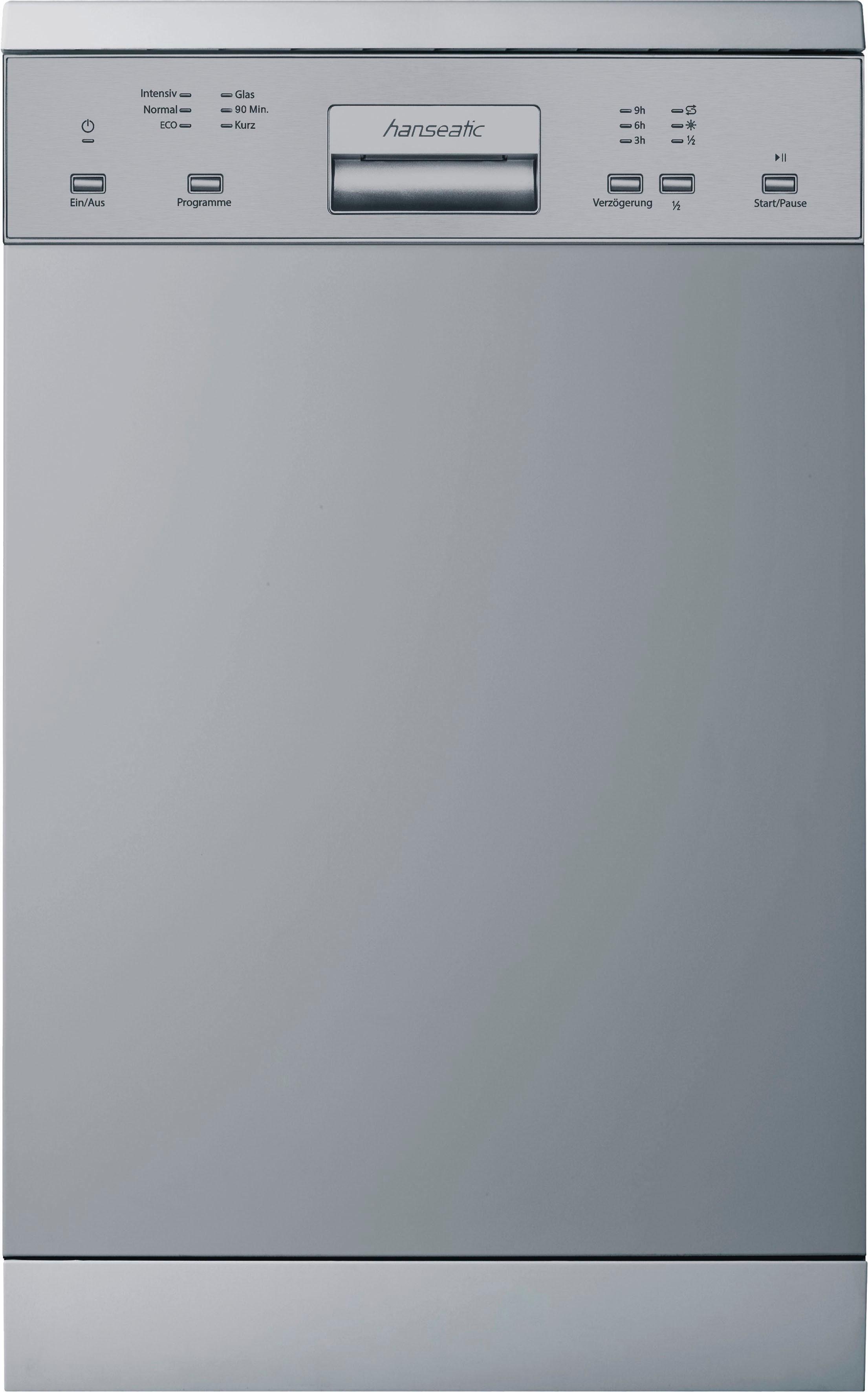 Hanseatic Standgeschirrspüler, WQP8-7610HS, 9 l, 10 Maßgedecke, 45 cm breit