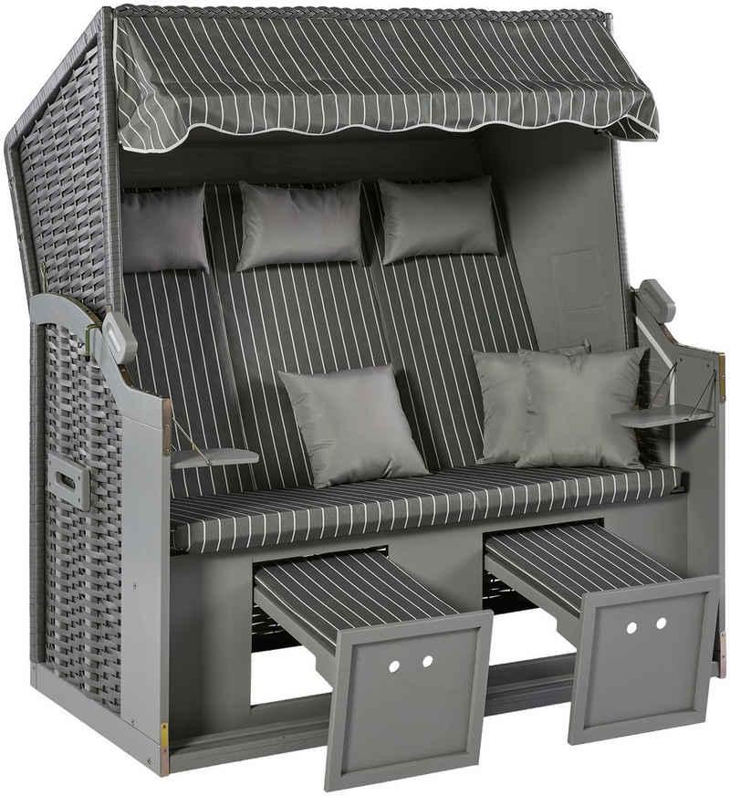 KONIFERA Strandkorb »Sylt«, BxTxH: 150x72x150 cm, Ostsee-Modell, BxTxH: 150x72x150 cm, 3-Sitzer