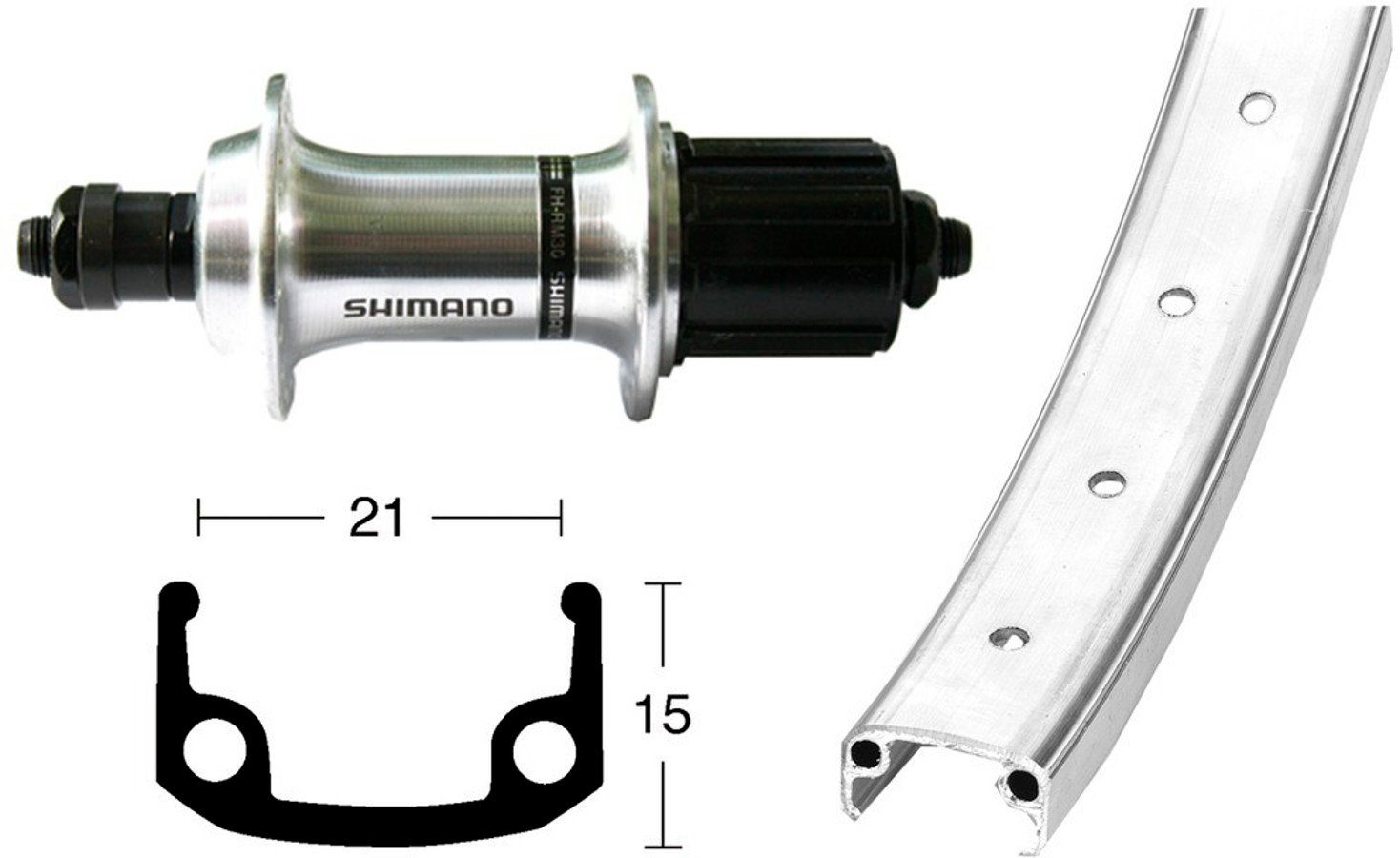 Bike-Parts Laufrad »Hinterrad 26x1.9 TX800 8/10s QR 36L«