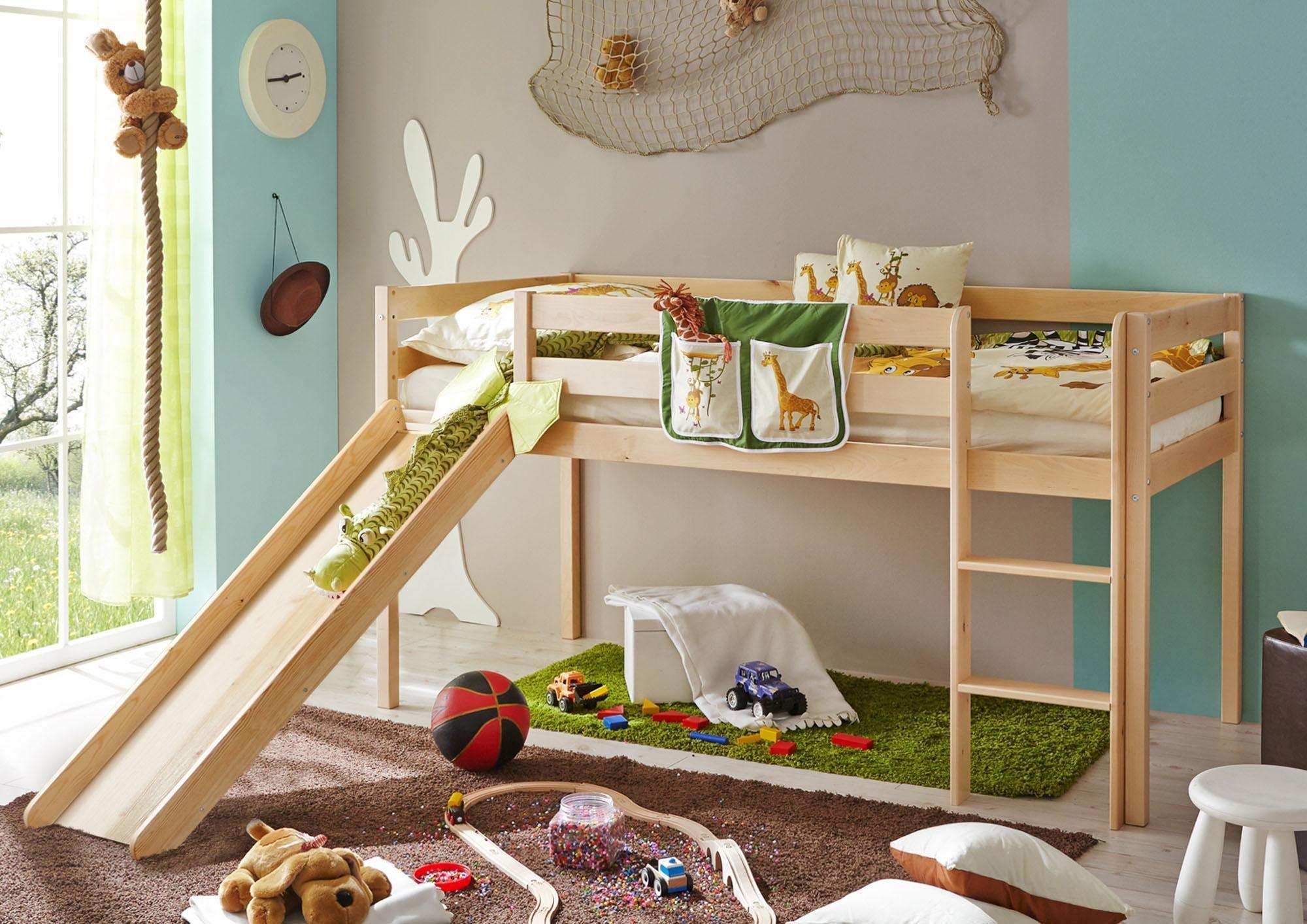 Etagenbett Kinder Rutsche : Kinderbett hochbett tom mit rutsche und turm inkl rollrost