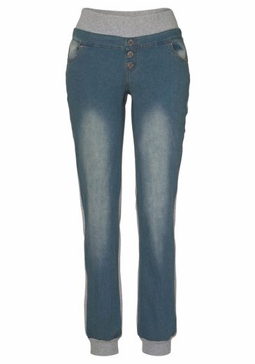 Buffalo Denim Sweatpants mit Jeans-Frontseite