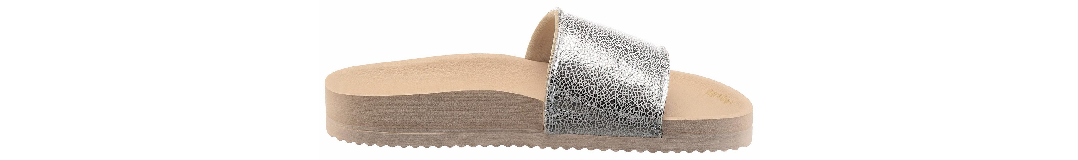 Flip Flop Pool Metallic Cracked Pantolette, mit glänzender Bandage