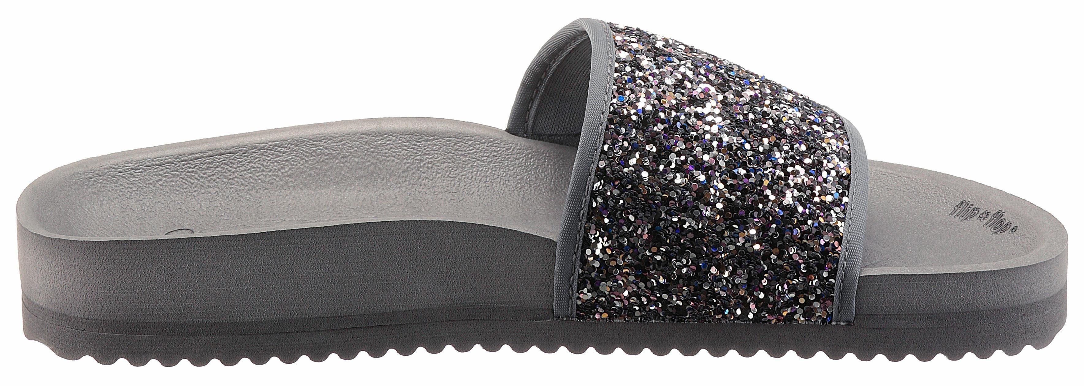 Flip Flop Pantolette, mit Glitter online kaufen  grau