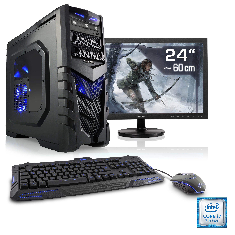 "CSL Gaming PC Set | i7-7700 | GeForce GTX 1060 | 16 GB RAM | 24"" TFT »Speed T7594 Windows 10 Home«"