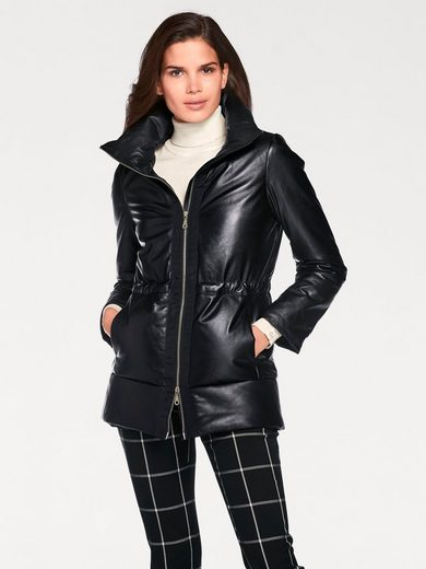 ASHLEY BROOKE by Heine Lederjacke, Lammnappa mit Tunnelzug im Taillenbereich