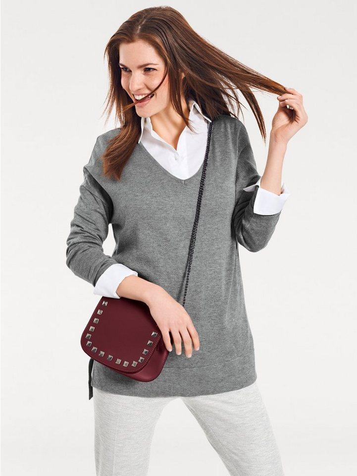 heine CASUAL V-Pullover Vorne kurz, hinten länger | Bekleidung > Pullover > V-Pullover | Grau | Polyamid | heine