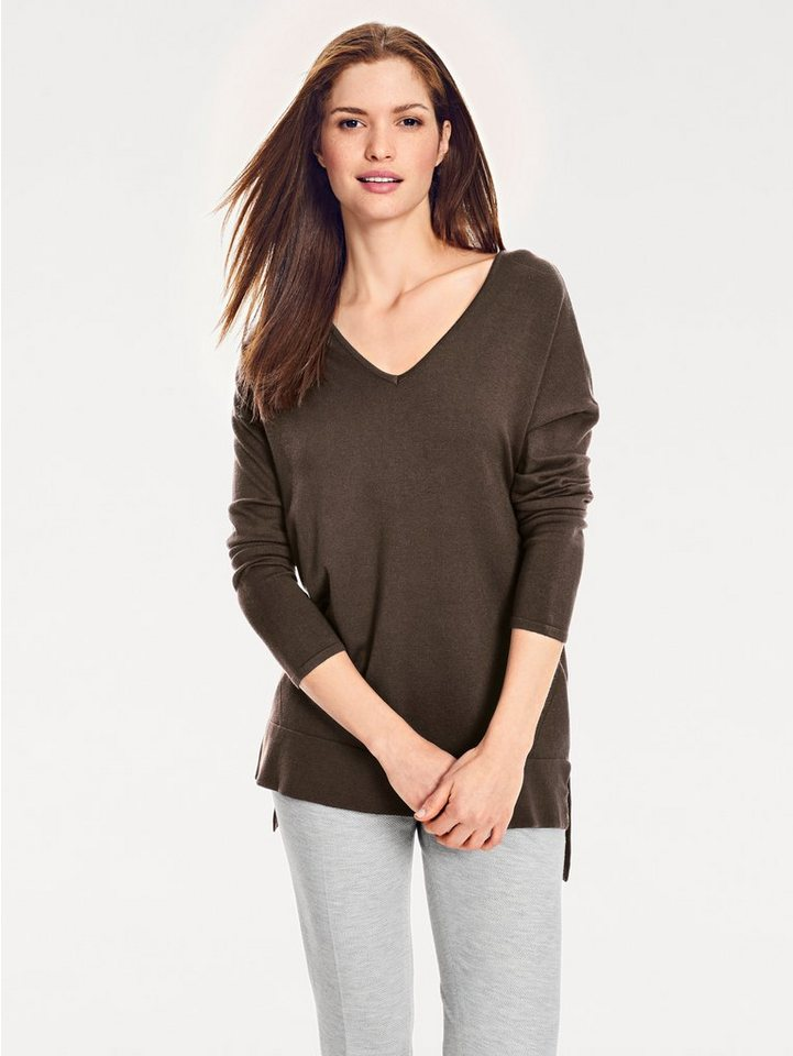 heine CASUAL V-Pullover Vorne kurz, hinten länger   Bekleidung > Pullover > V-Pullover   Braun   heine