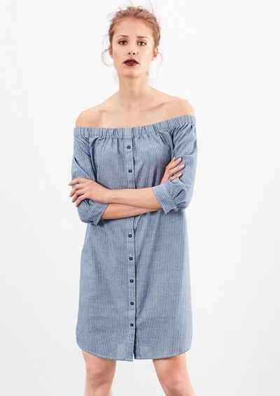 Q/S designed by Off Shoulder-Kleid mit Nadelstreifen Sale Angebote Reuthen