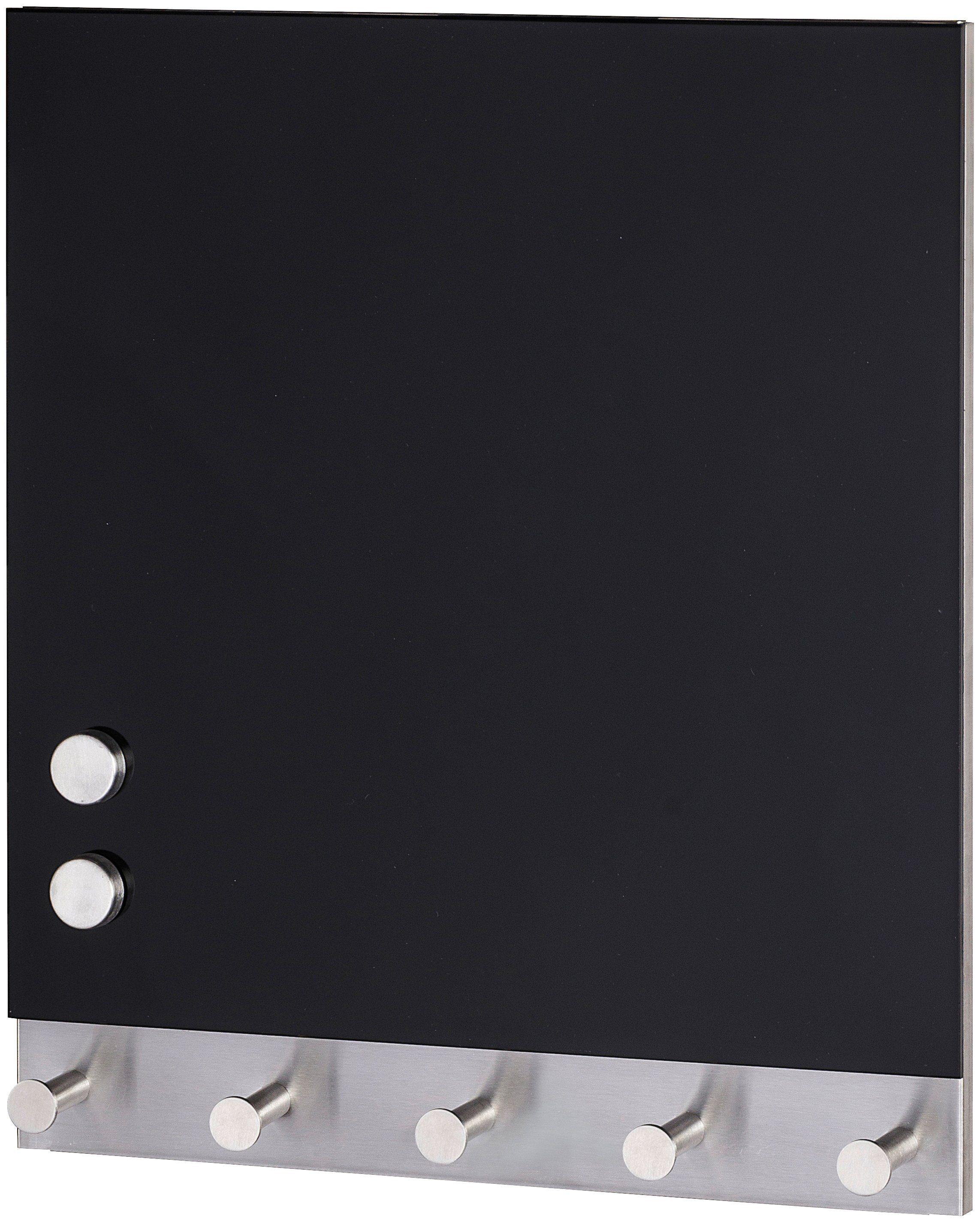 WENKO Garderobenhaken »Magnetische Garderobe Black«, 5 Haken, 30 x 34 cm