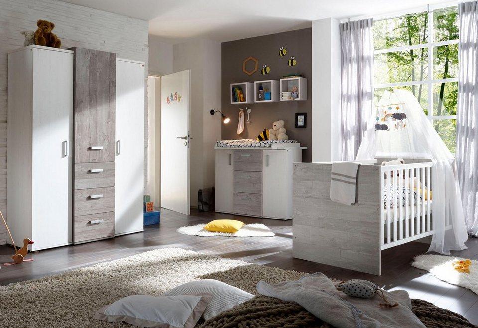 Komplett babyzimmer helsinki babybett wickelkommode kleiderschrank 3 tlg in vintage - Babyzimmer grau ...