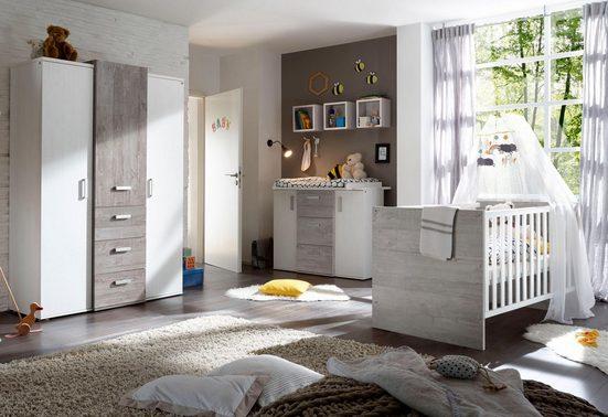 Babyzimmer-Komplettset »Helsinki«, (3 tlg) Bett + Wickelkommode + 3 trg. Schrank