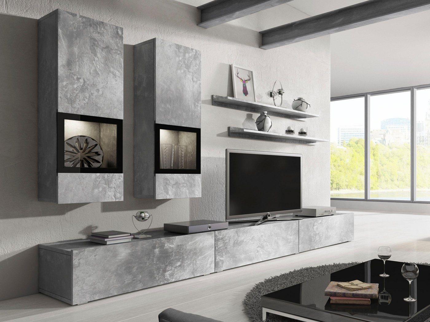 Wohnwände - TRENDMANUFAKTUR Wohnwand »Baros«, (Set, 6 tlg)  - Onlineshop OTTO