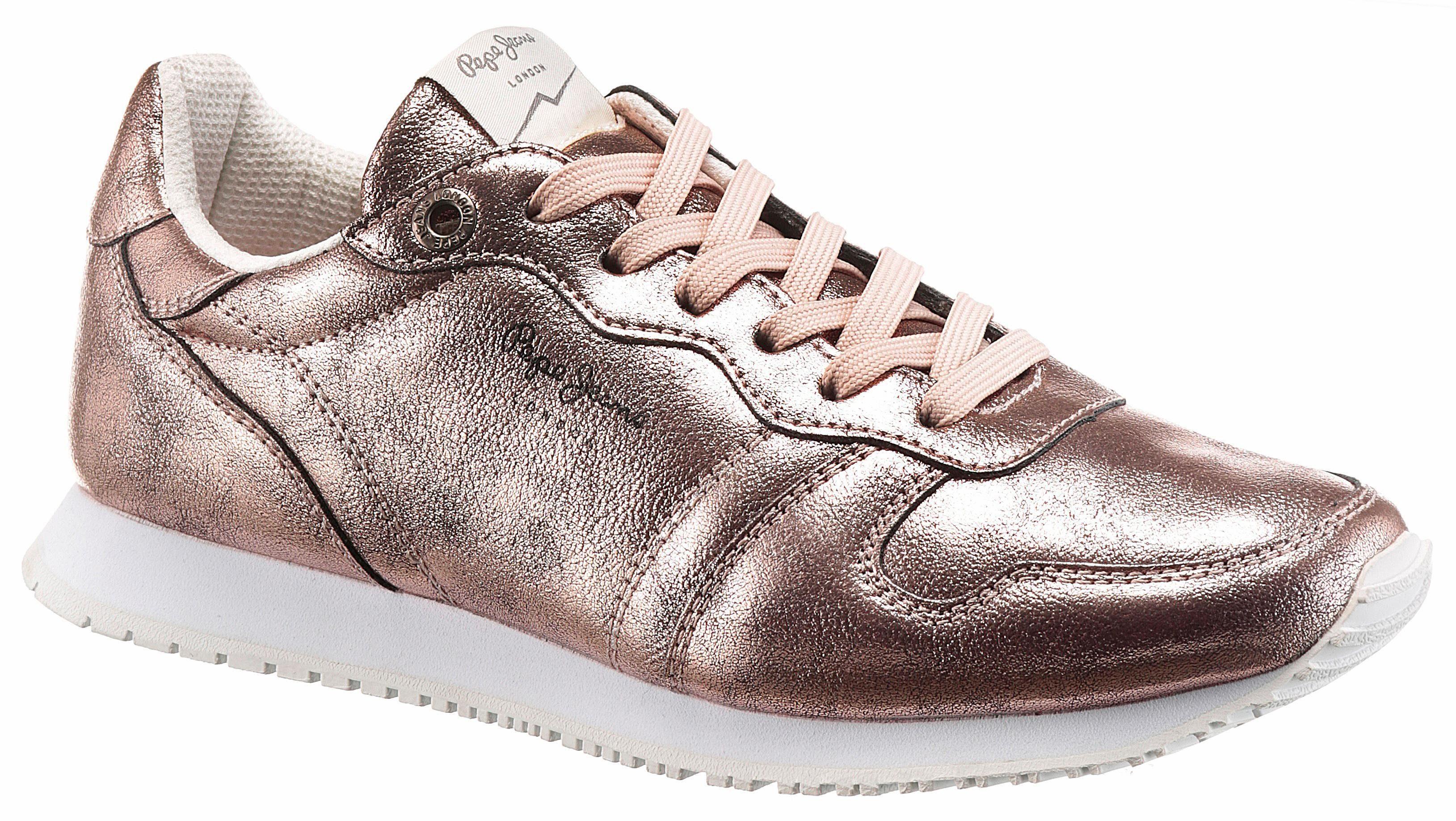 Pepe Jeans »Gable Plain« Sneaker, im trendigen Metallic-Look, rosa, rosé