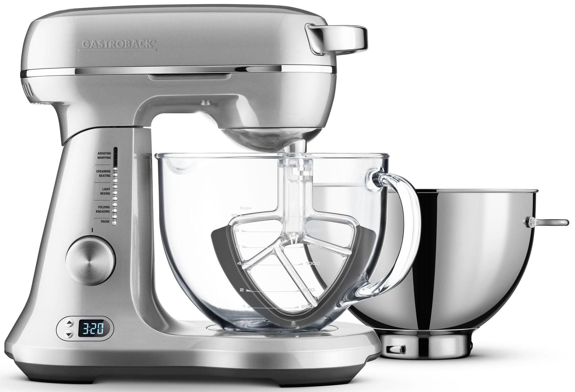 Gastroback Küchenmaschine 40989 Design Advanced Pro Duo, 1200 W, 4,7 l Schüssel, Rührschüssel aus Borosilikatglas