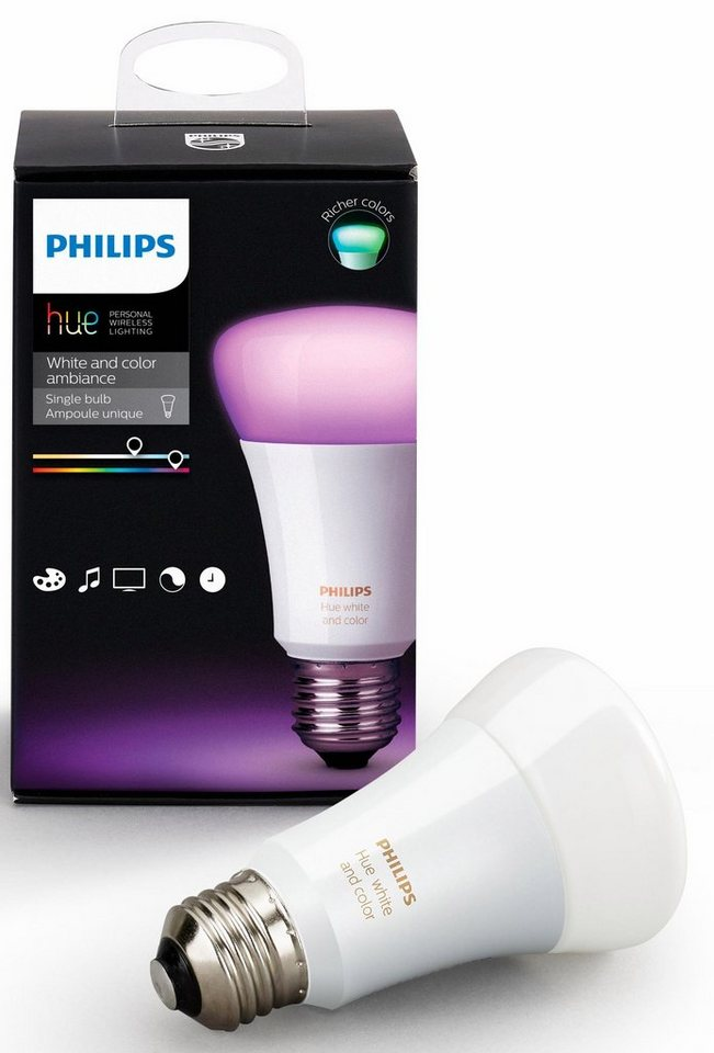 philips hue white color ambiance led lichtsystem e27 1 st ck warmwei neutralwei. Black Bedroom Furniture Sets. Home Design Ideas