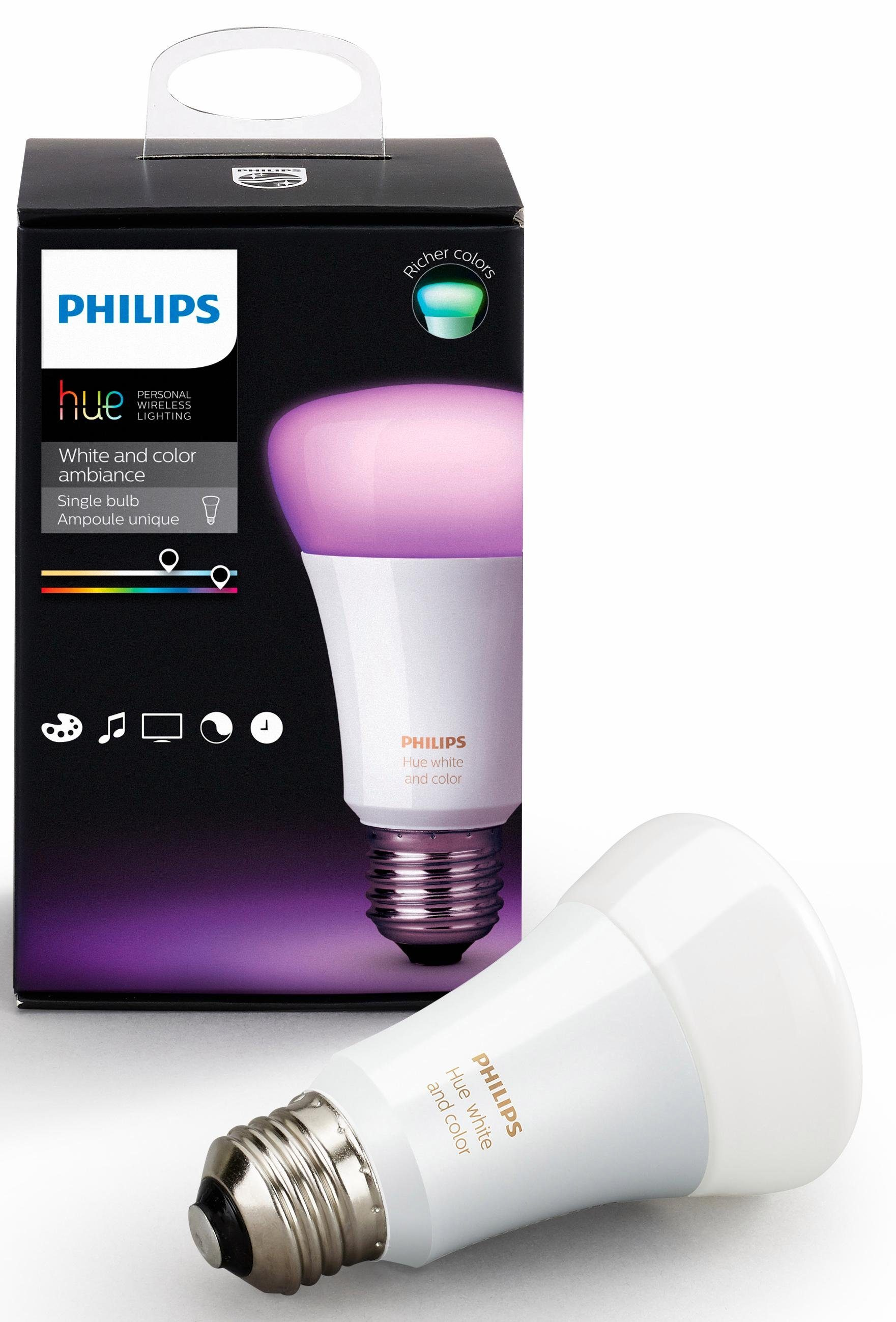 Philips Hue White & Color Ambiance, E27 Erweiterung - weiß und farbig - smartes LED-Lichtsystem mit App-Steuerung