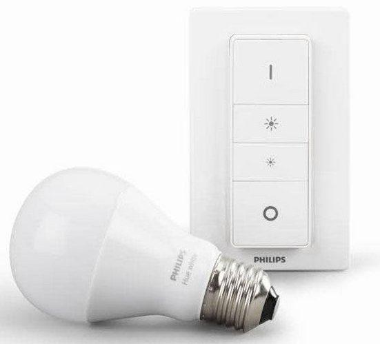 Philips Hue LED-Leuchtmittel, E27, Warmweiß, smartes LED-Lichtsystem mit App-Steuerung LED Leuchtmittel + Schalter im Set