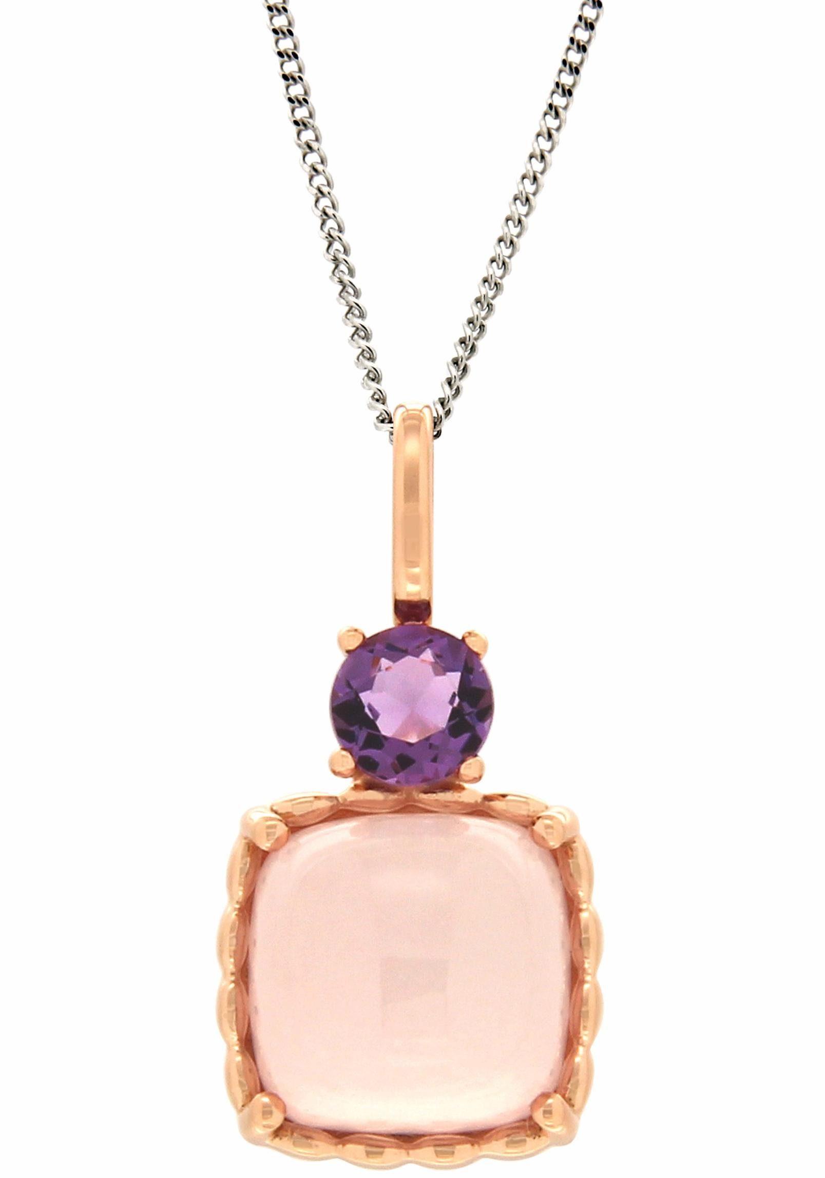 Vivance jewels Kettenanhänger mit Rosenquarz und Amethyst