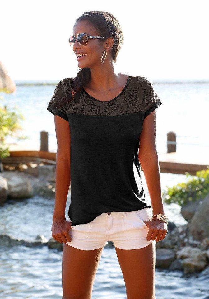 verkauf uk klassischer Stil von 2019 hoch gelobt LASCANA Strandshirt mit Spitzeneinsatz, Rundhalsausschnitt online kaufen |  OTTO