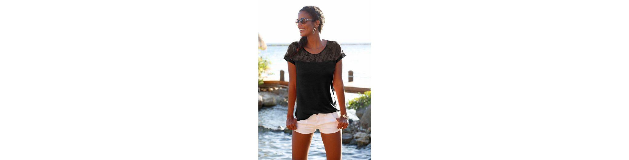 LASCANA Strandshirt mit Spitzeneinsatz Sammlungen OUUM1GHu