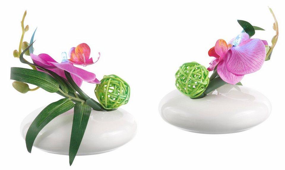 kunstpflanze led orchidee 2 tlg online kaufen otto. Black Bedroom Furniture Sets. Home Design Ideas