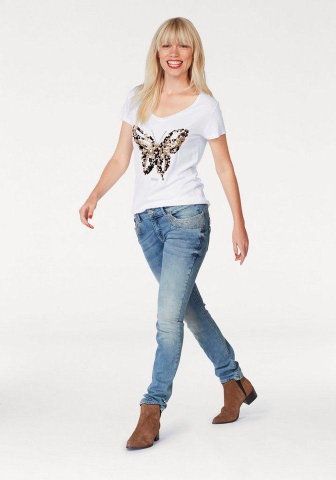 Coccara T-Shirt »NATALIE«, mit angesagter Pailletten-Stickerei