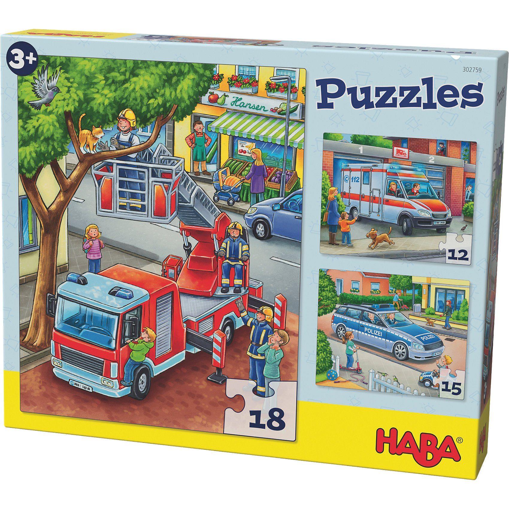Haba Puzzles - 12/15/18 Teile - Polizei, Feuerwehr & Co.
