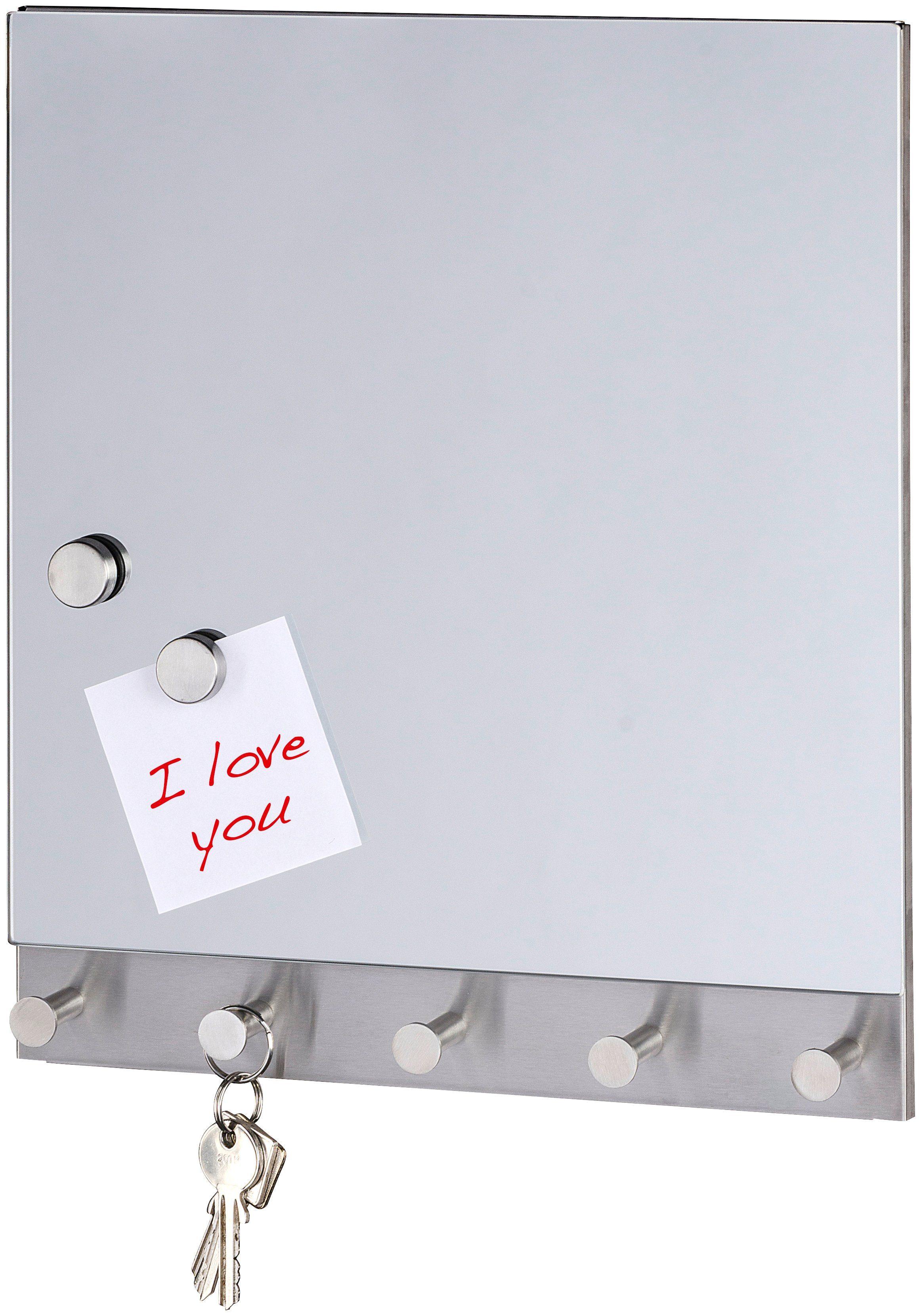WENKO Magnetische Garderoben-Set »Mirror, 5 Haken, 30 x 34 cm«