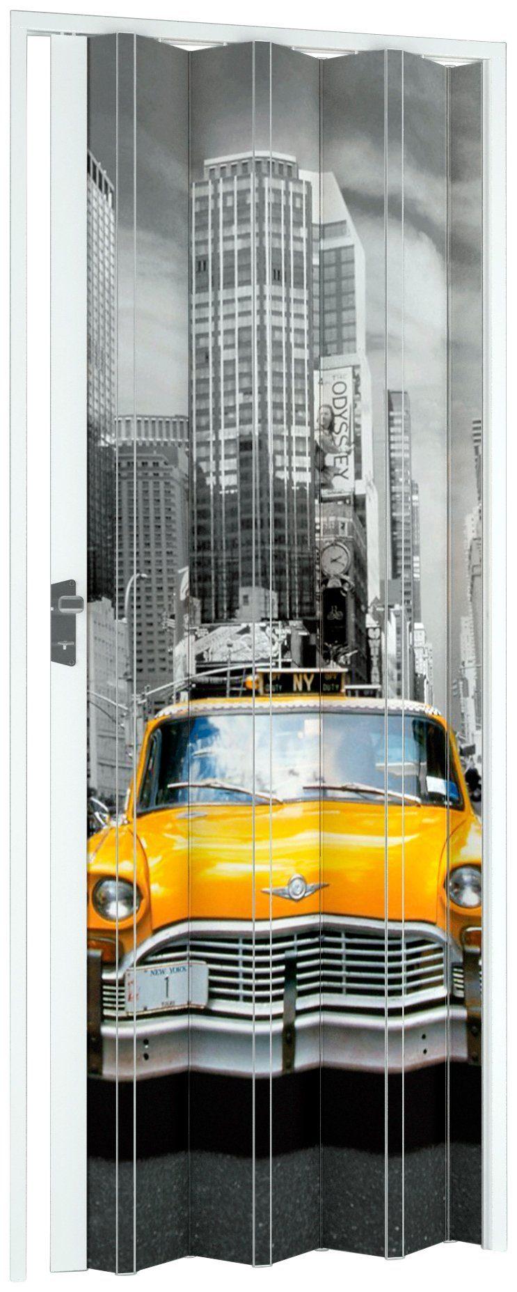 Kunststoff-Falttür »NY-Skyline«, BxH: 88,5x202 cm, Weiß mit Motivdruck