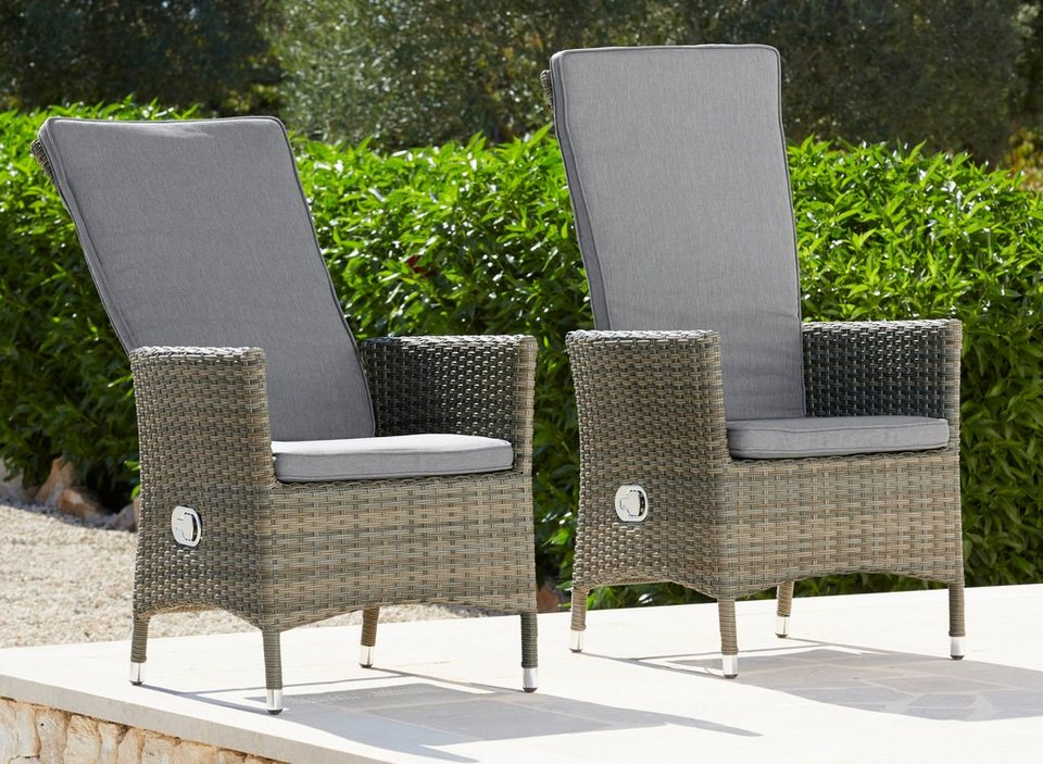 gartenstuhl venezia 2er set polyrattan verstellbar. Black Bedroom Furniture Sets. Home Design Ideas