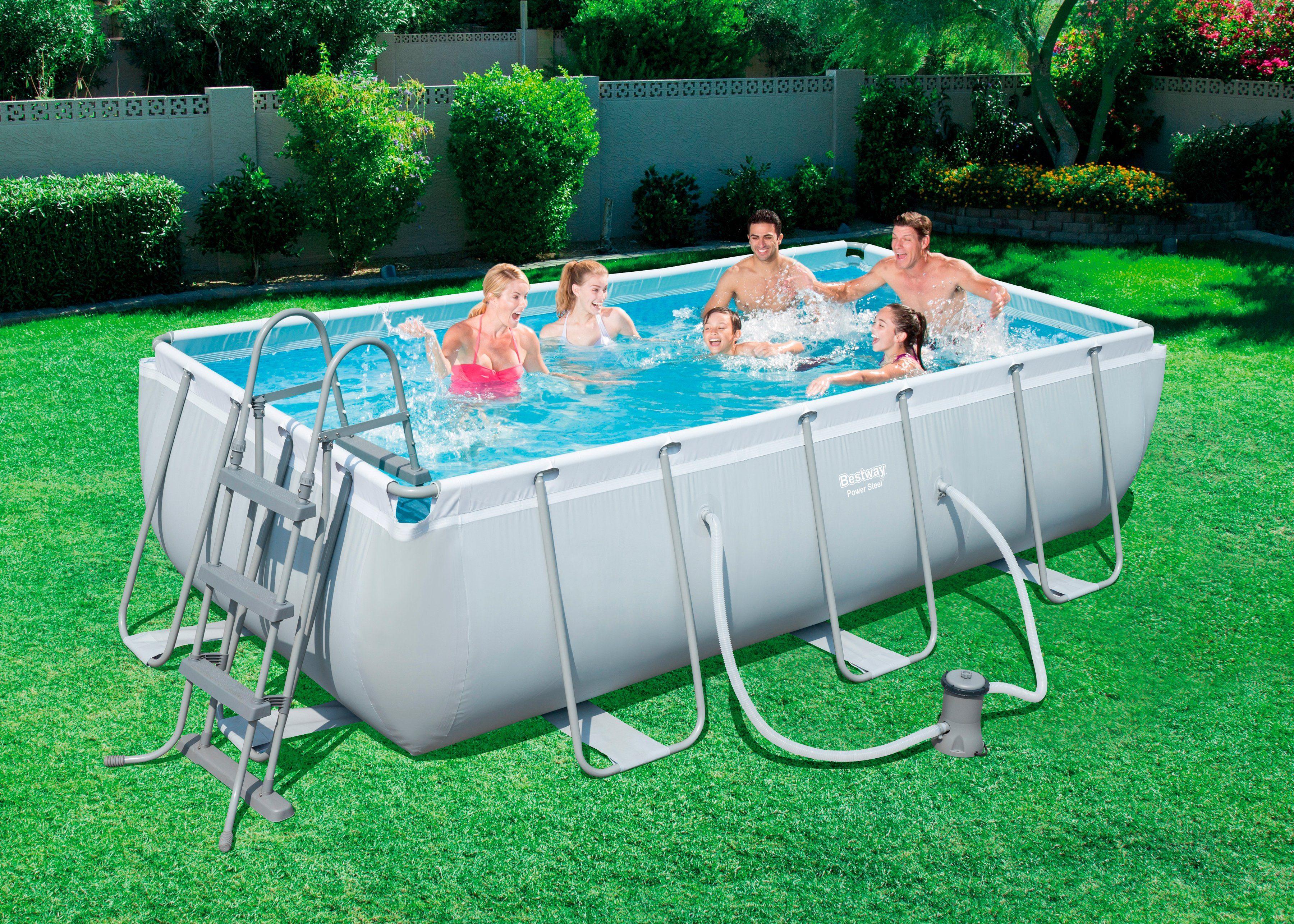 Bestway set frame pool power steel 404x201x100 cm rechteckig mit filterpumpe online kaufen - Pool rechteckig mit pumpe ...