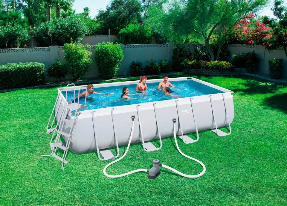 Bestway set frame pool power steel 549x274x122 cm for Pool stahlwandbecken rechteckig