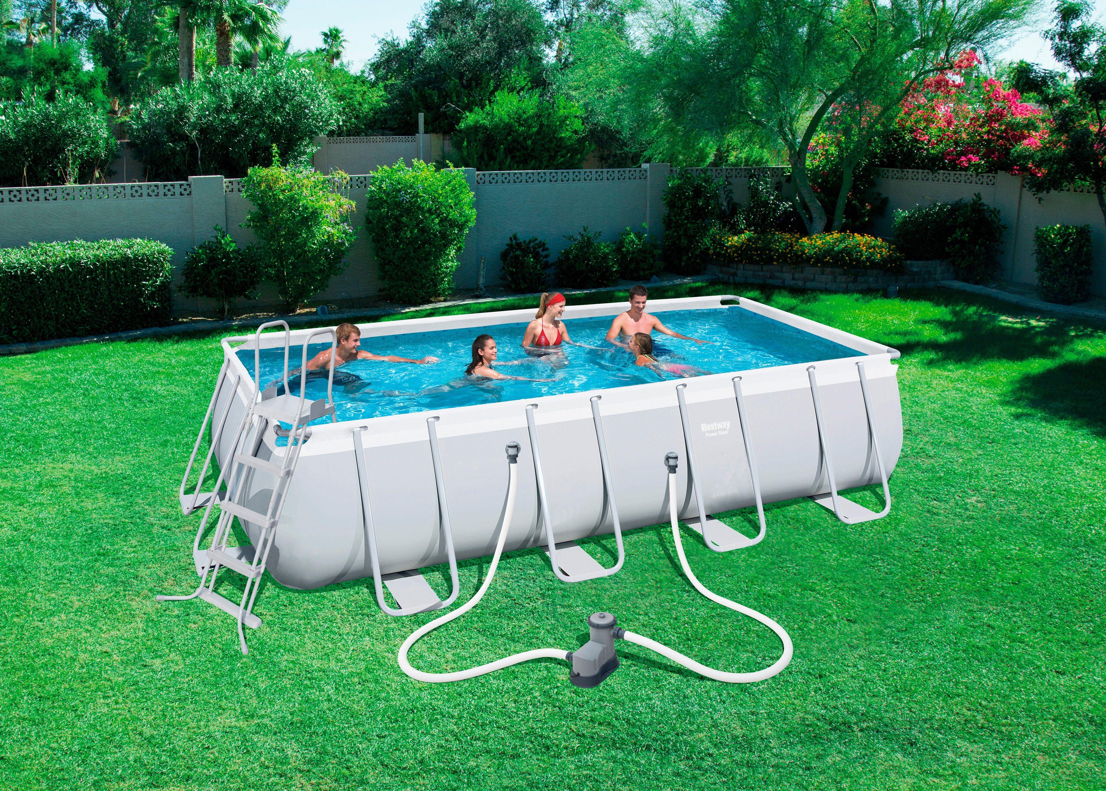 """Bestway Set: »Frame Pool """"Power Steel"""" 549x274x122 cm rechteckig mit Filterpumpe + Zubehör«"""