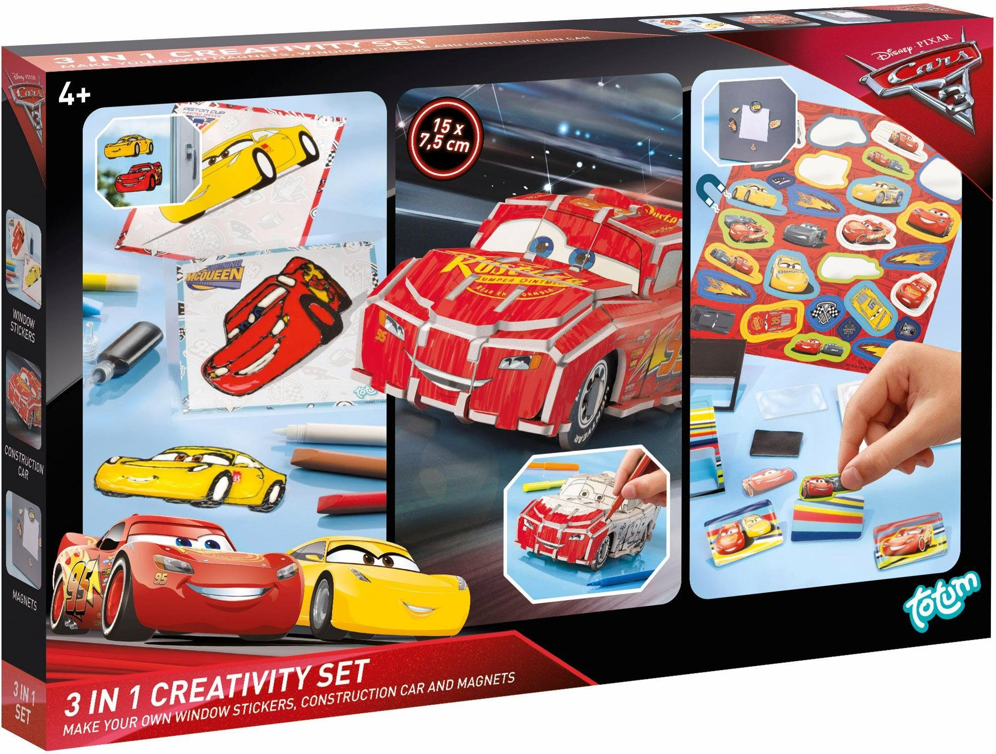 totum Kreativset Magnete,Fensterbilder/Construction Car, »Disney Pixar Cars 3, 3in1 Creativity Set«