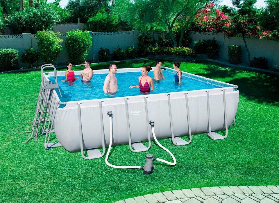 bestway set rechteckpool frame pool power steel square bxtxh 488x488x122 cm 6 tlg online. Black Bedroom Furniture Sets. Home Design Ideas