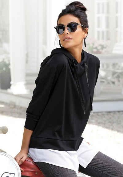 LASCANA Kapuzenshirt mit abnehmbaren Bluseneinsatz am Saum
