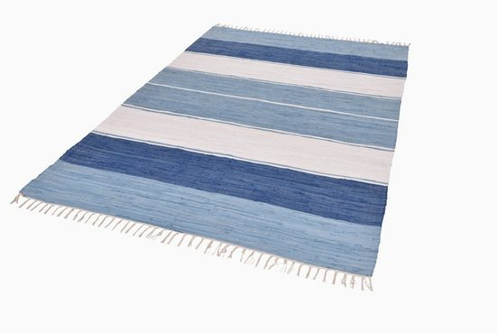 Teppich »Stripe Cotton«, THEKO, rechteckig, Höhe 5 mm, Flachgewebe, reine Baumwolle, handgewebt, mit Fransen, Wohnzimmer