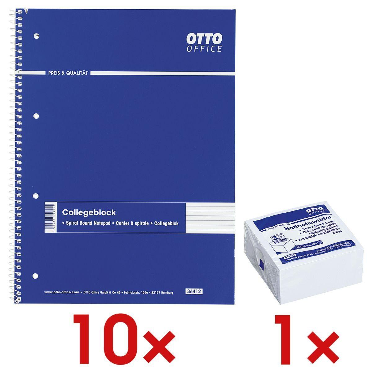 OTTO Office Standard 10 Collegeblöcke A4 liniert inkl. 1 Haftnotizwürfel 1 Set
