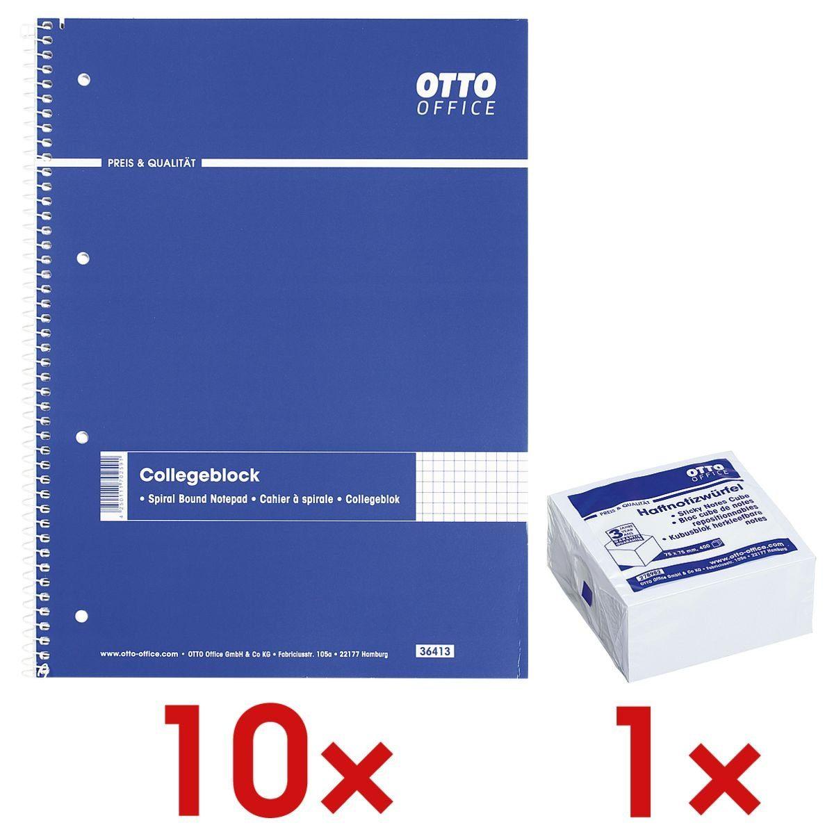 OTTOOFFICE STANDARD 10 Collegeblöcke A4 kariert inkl. 1 Haftnotizwürfel 1 Set