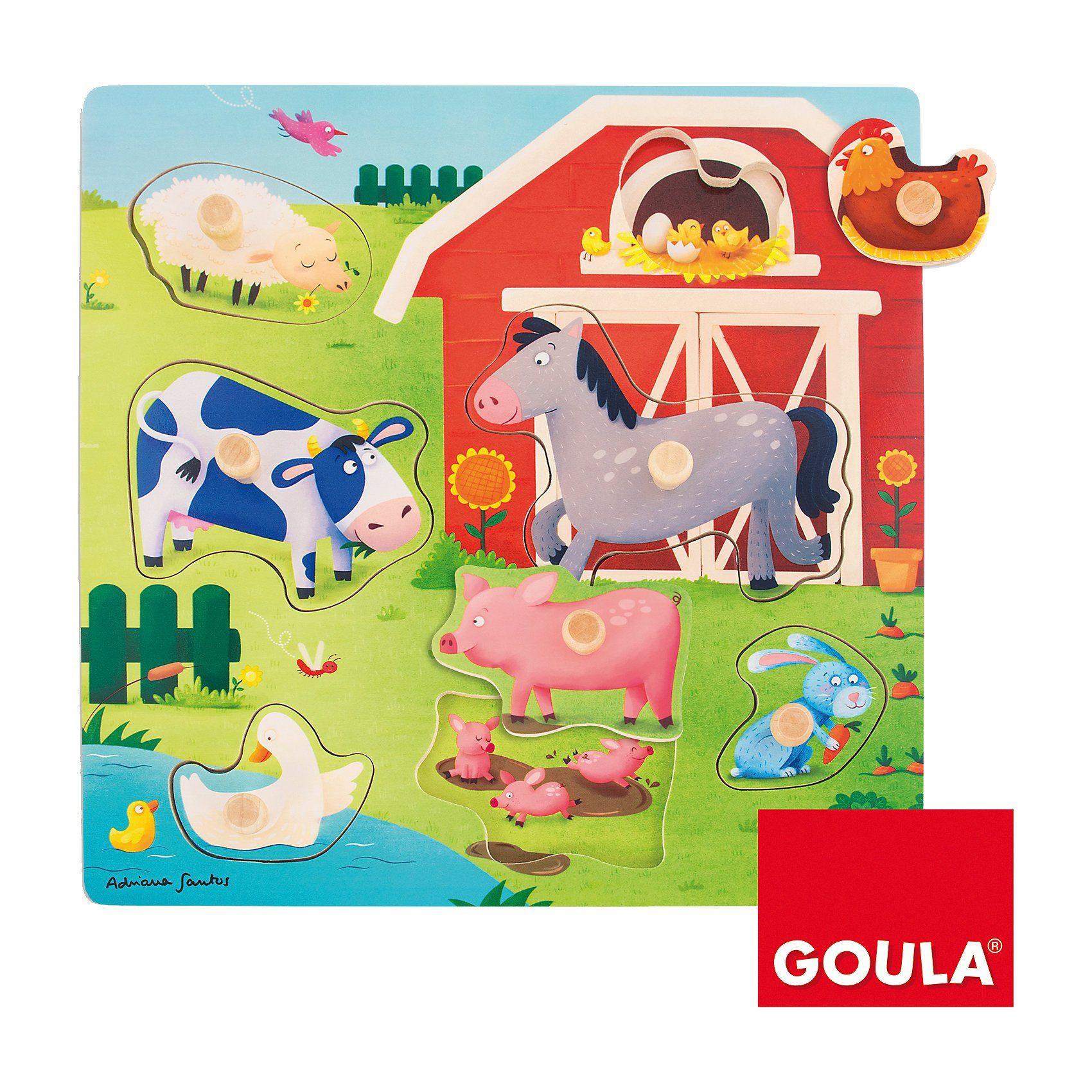 Goula Holzpuzzle Tiermütter- und kinder auf dem Bauernhof
