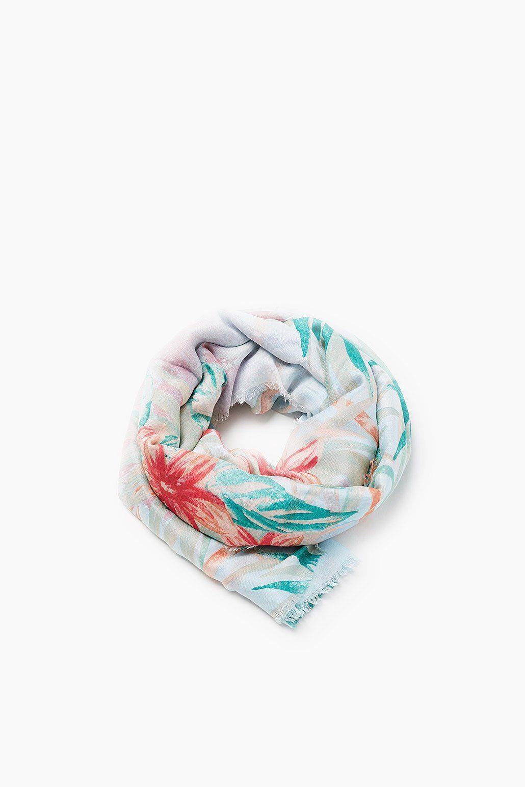 ESPRIT CASUAL Fließender Oversize-Schal mit Print