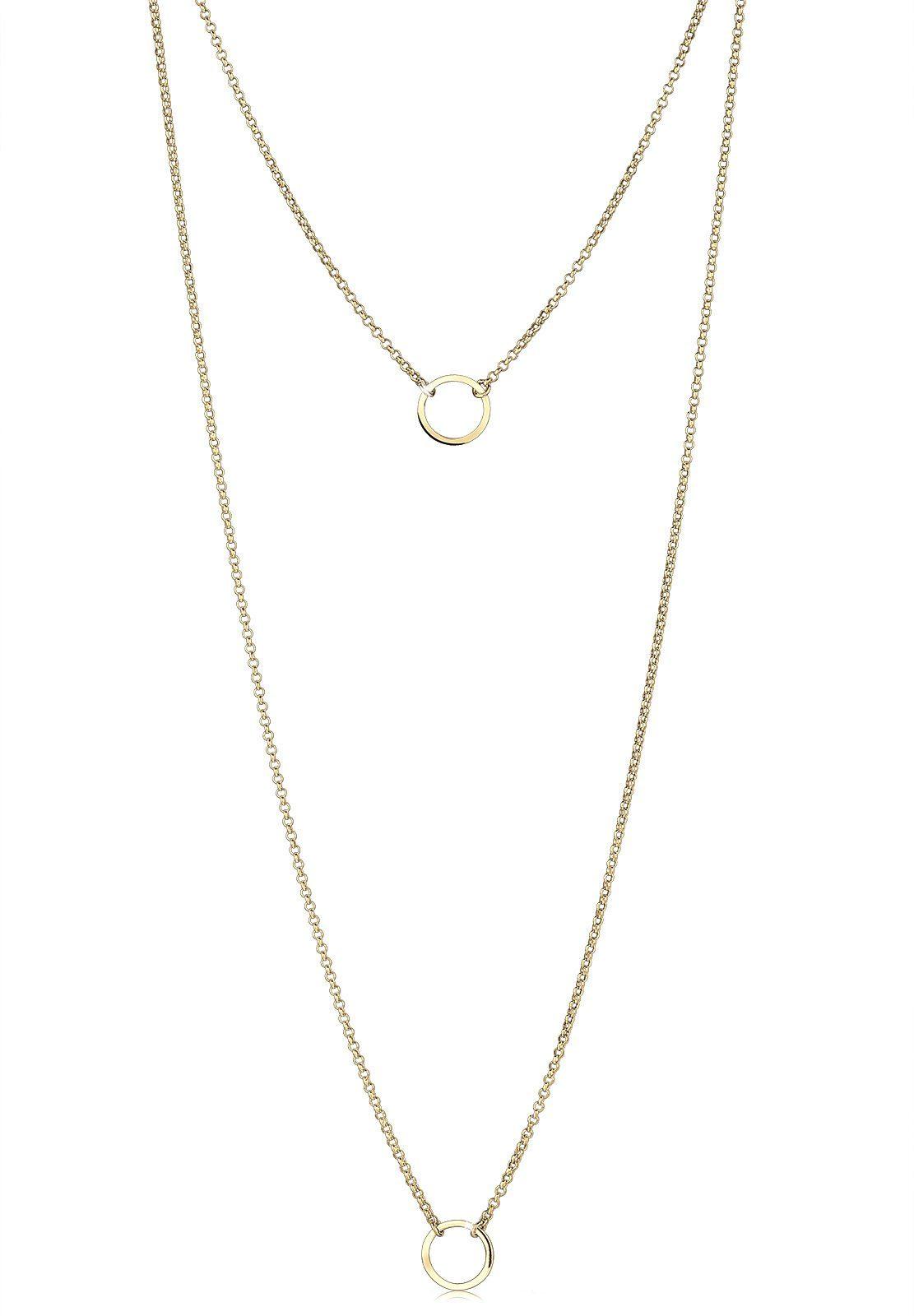 Elli Halskette »Layering Doppelkette Kreis 925 Sterling Silber«