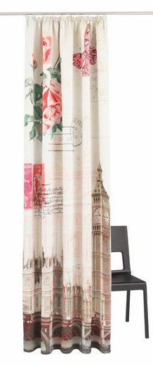 Vorhang »Postkarte«, my home, Kräuselband (1 Stück), Big Ben