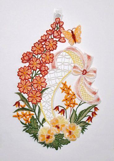 Stickereien Plauen Fensterbild »Blumenwiese« (1 Stück), Hakenaufhängung