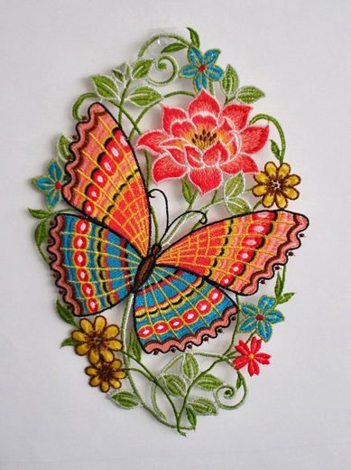 Stickereien Plauen Fensterbild »Schmetterling« (1 Stück), Hakenaufhängung
